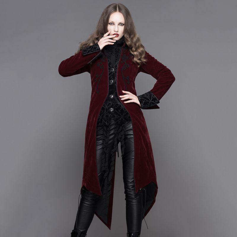 Devil mode gothique palais vent femmes longues vestes Steampunk automne hiver manches longues Swallowtail manteaux noir rouge pardessus