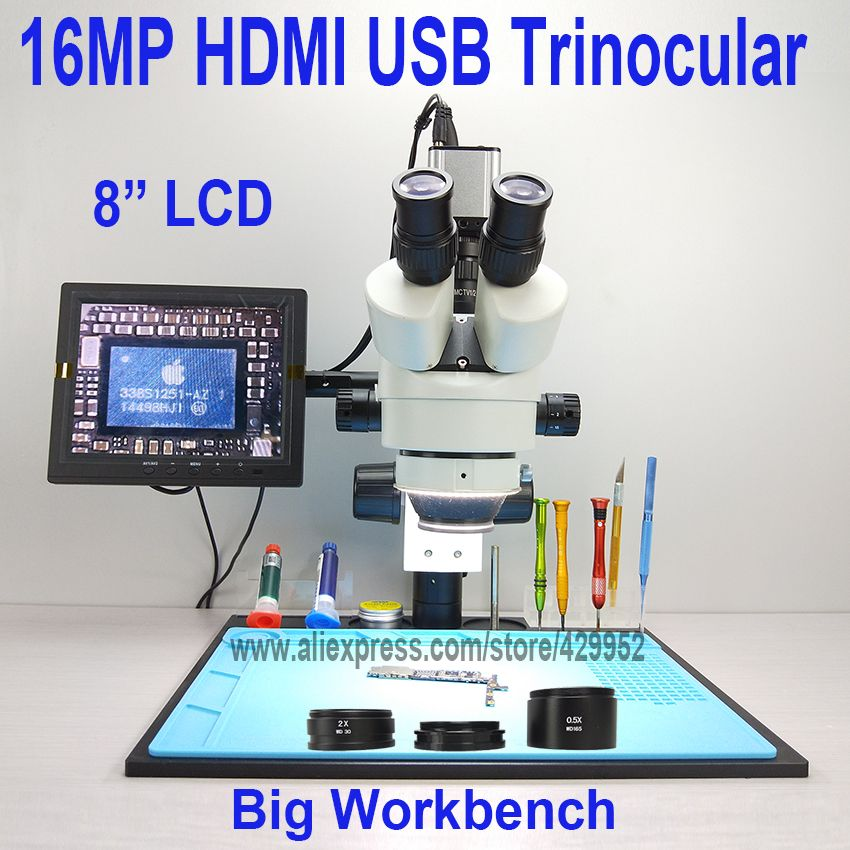efix 16MP 3.5-90X 8 inch Soldering Trinocular Stereo Microscope Stand Lens HDMI USB Digital Camera for Repair Mobile Phone Tools