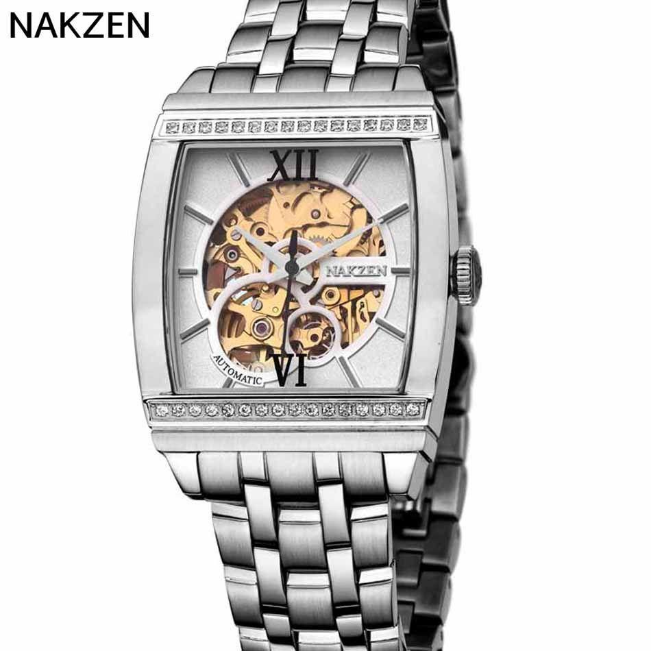 NAKZEN Cuadrado Hueco Reloj Mecánico de Lujo de Negocios de Moda Casual Hombres del Reloj de Zafiro Resistente Al Agua Relojes de Los Hombres