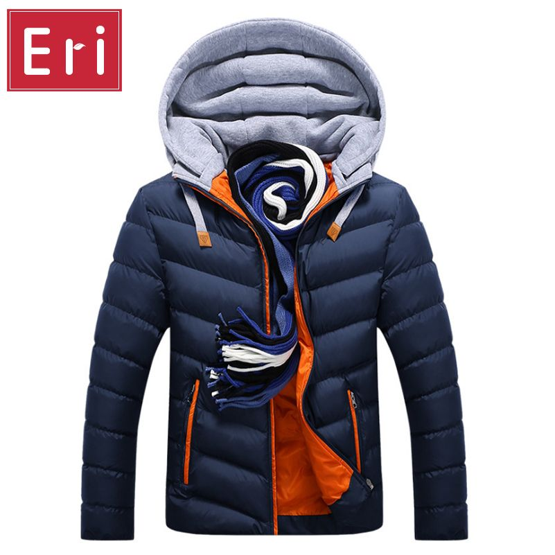 Winter Jacket Men Hat Detachable Warm Coat Cotton-Padded Outwear Mens Coats Jackets Hooded Collar Slim Clothes Thick Parkas X327