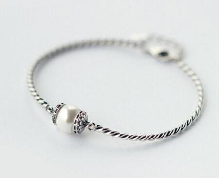 CAB003 925 Sterling argent set nail bracelet petite pierre ronde avec la boîte
