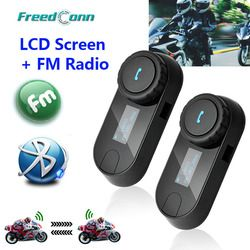 Original FreedConn 2 piezas actualizado TCOM-SC BT Bluetooth motocicleta casco Interphone auricular con pantalla LCD + Radio FM