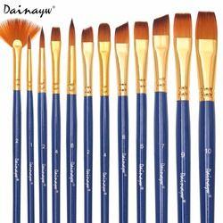 Dainayw 12 pcs/ensemble Différents Forme Nylon Cheveux Pinceaux Artiste Huile Aquarelle Peinture Brosse Pour Professionnel Art Fournitures