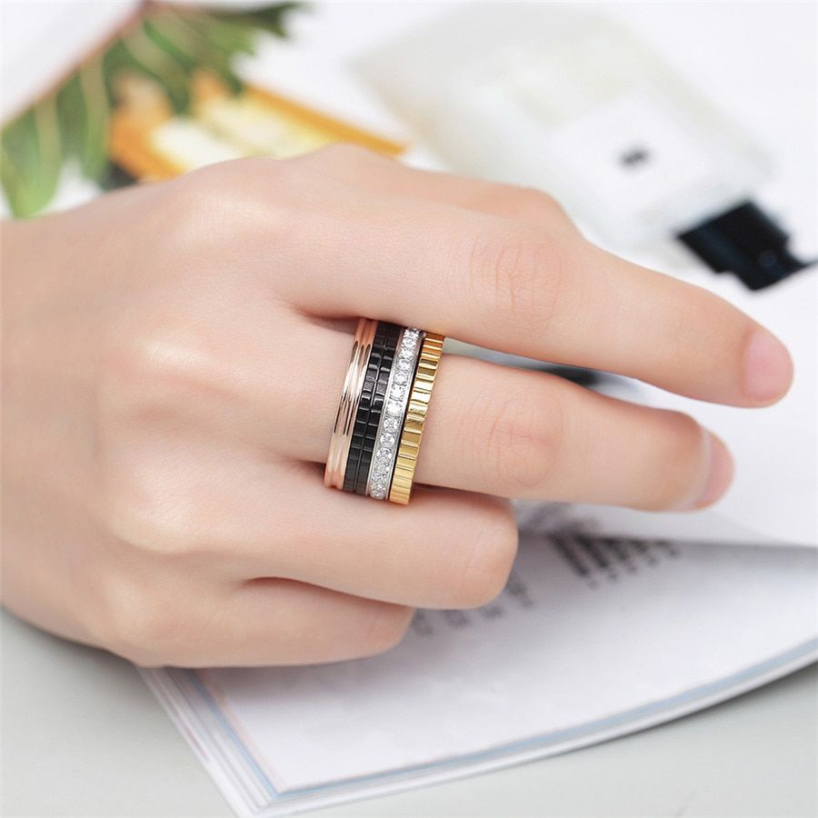ZINDOV Luxury Brand Women Ring Stainless Steel Rose Gold Black Silver Gold <font><b>Zirconia</b></font> Jewelry Men Wedding Finger Rings For Women
