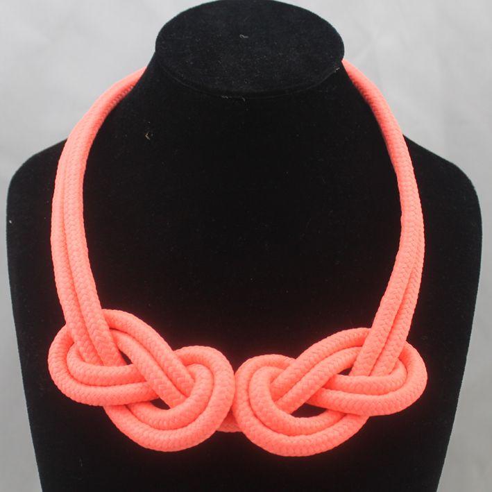 Аксессуары неоновые цвета короткий дизайн ожерелье ручной работы хлопок веревка трикотажные цепи ожерелья