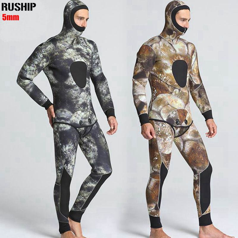 New 5mm Diving suit neoprene men pesca diving spearfishing wetsuit snorkel swimsuit Split Suits combinaison hat surf wetsuit