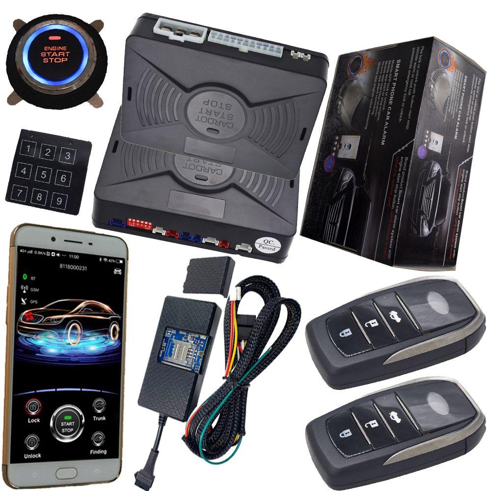 Gps tracking system mit auto alarm schutz keyless motor zündung start stop taste mobile app control fernbedienung zentrale schloss