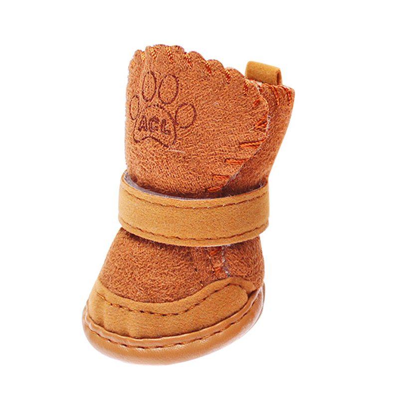 Собака кошка зима снег пинетки Смешанный хлопок резиновые теплые щенок Сапоги и ботинки для девочек Обувь