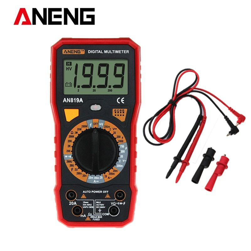 ANENG Digital Multimeter AN819A AC/DC Current Voltage Ammeter Capacitance Triode LCD Tester with Crocodile Clips Leads Line