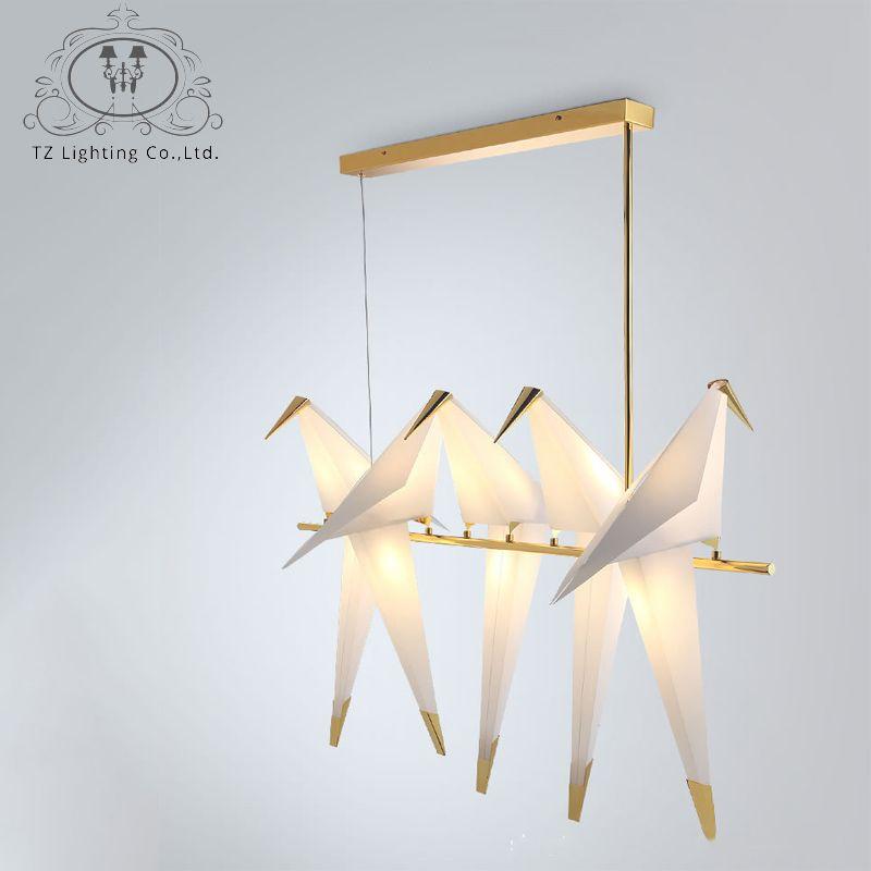 TZ Modern Origami Crane Bird Pendant Light Nordic Style Creative Design Personality Lamp Hanging Hotel Hall Parlor Bedroom Bar