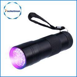 Mini 9LED UV linterna ultravioleta LED linterna ultravioleta Invisible Ink Marker detección antorcha luz 3AAA lámpara UV