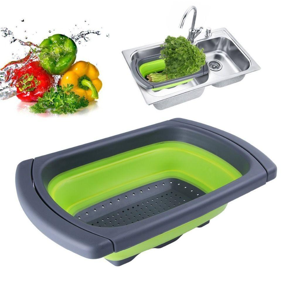 Silicone pliable sur l'évier passoire rétractable avec poignée cuisine passoire pliante bols vidange filtre à eau panier