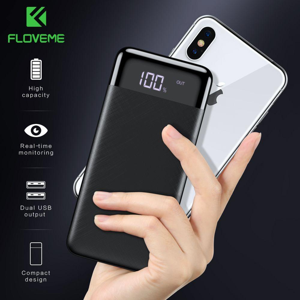 FLOVEME Power Bank 10000mah External Battery Backup Pack quick Charge Powerbank 10000 Mah Dual usb charger For iphone Xiaomi mi