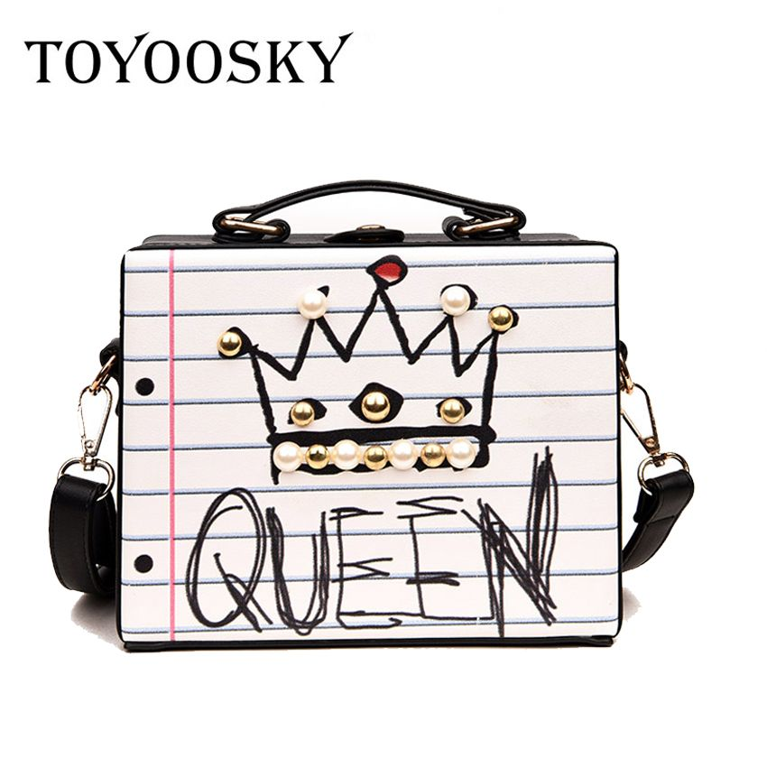 New arrival fashion letter diamonds pearl rivet box shape casual female handbag party purse ladies crossbody messenger bags SAC