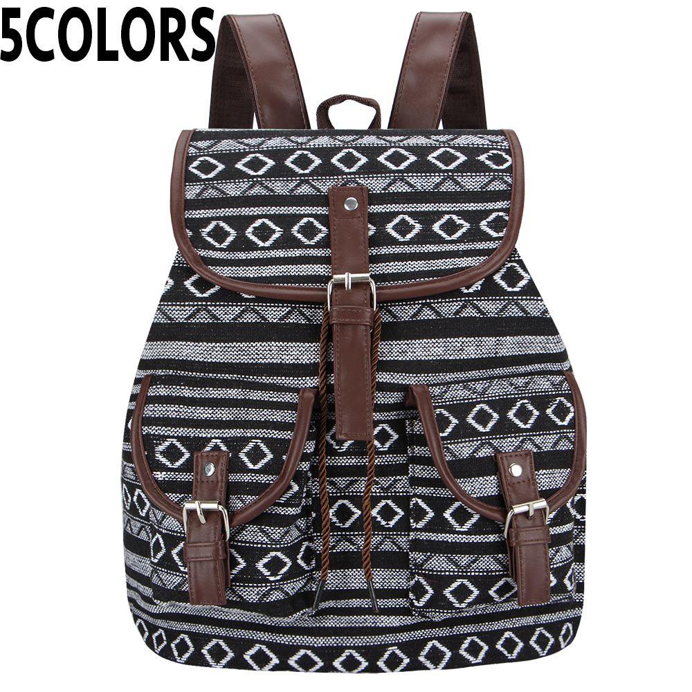 SANSARYA nouveau 2018 Thai tissé Vintage sac à dos aztèque indien femmes sac à dos bohème Boho cordon sac à dos Hippie sacs d'école