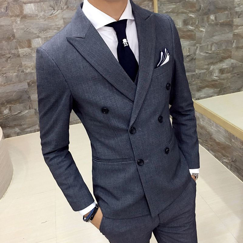 Men's Blazers coat 2017 autumn new British style double-breasted Slim thin black male casual gray double-breasted suit coat
