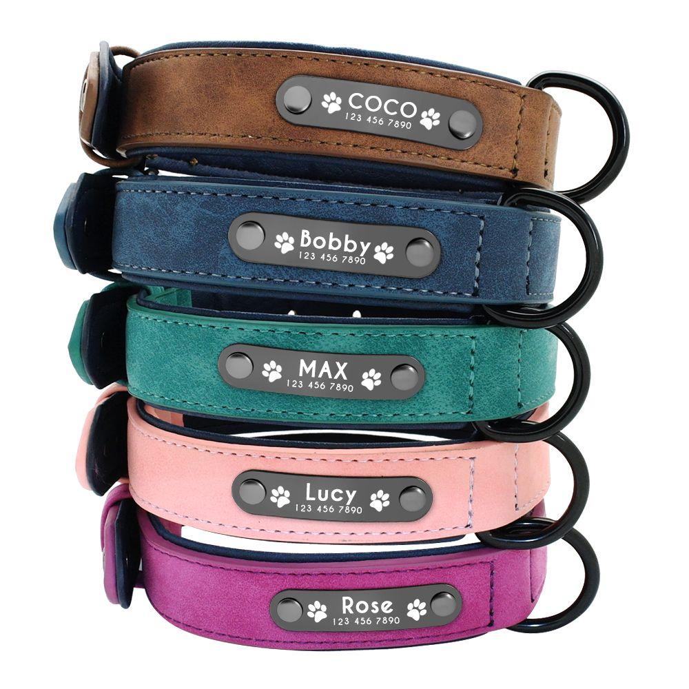 Dog Collars Personalized Custom Leather Dog Collar Name ID Tags For Small Medium Large Dogs Pitbull Bulldog Beagle Correa Perro
