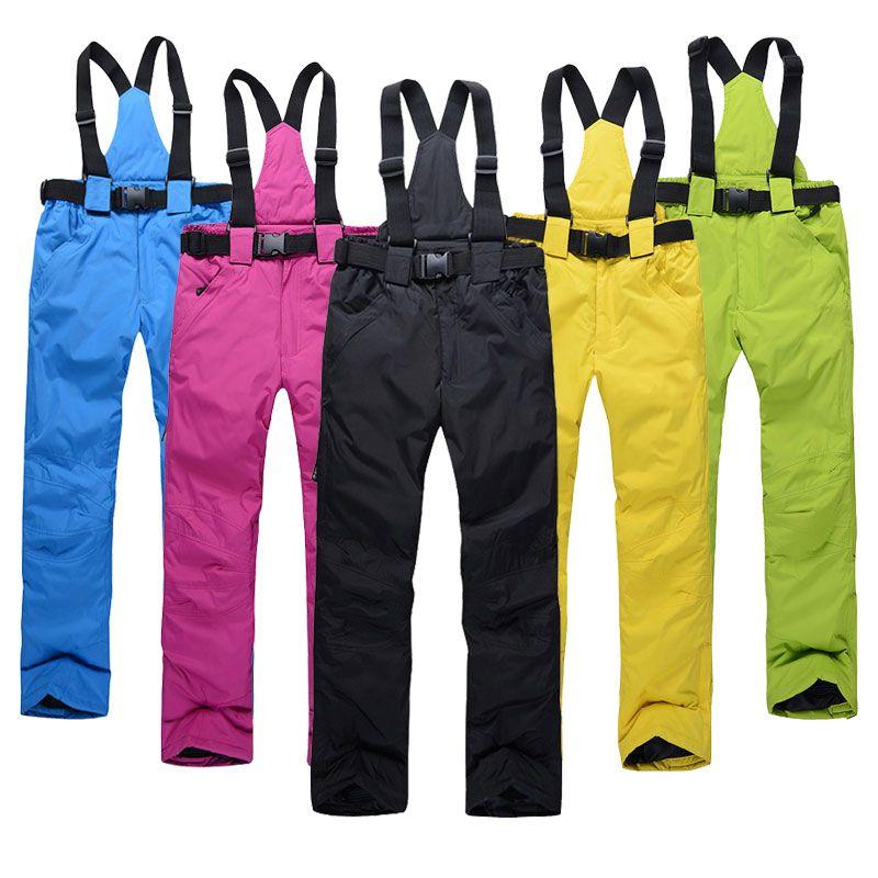 Femmes pantalons de Ski marques nouveaux Sports de plein air de haute qualité bretelles pantalons hommes coupe-vent imperméable chaud hiver neige Snowboard