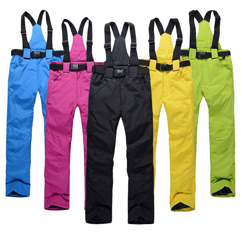 New Outdoor Sports High Quality Women Ski Pants Suspenders Men Windproof Waterproof Warm Colorful Winter Snow Snowboard Trousers