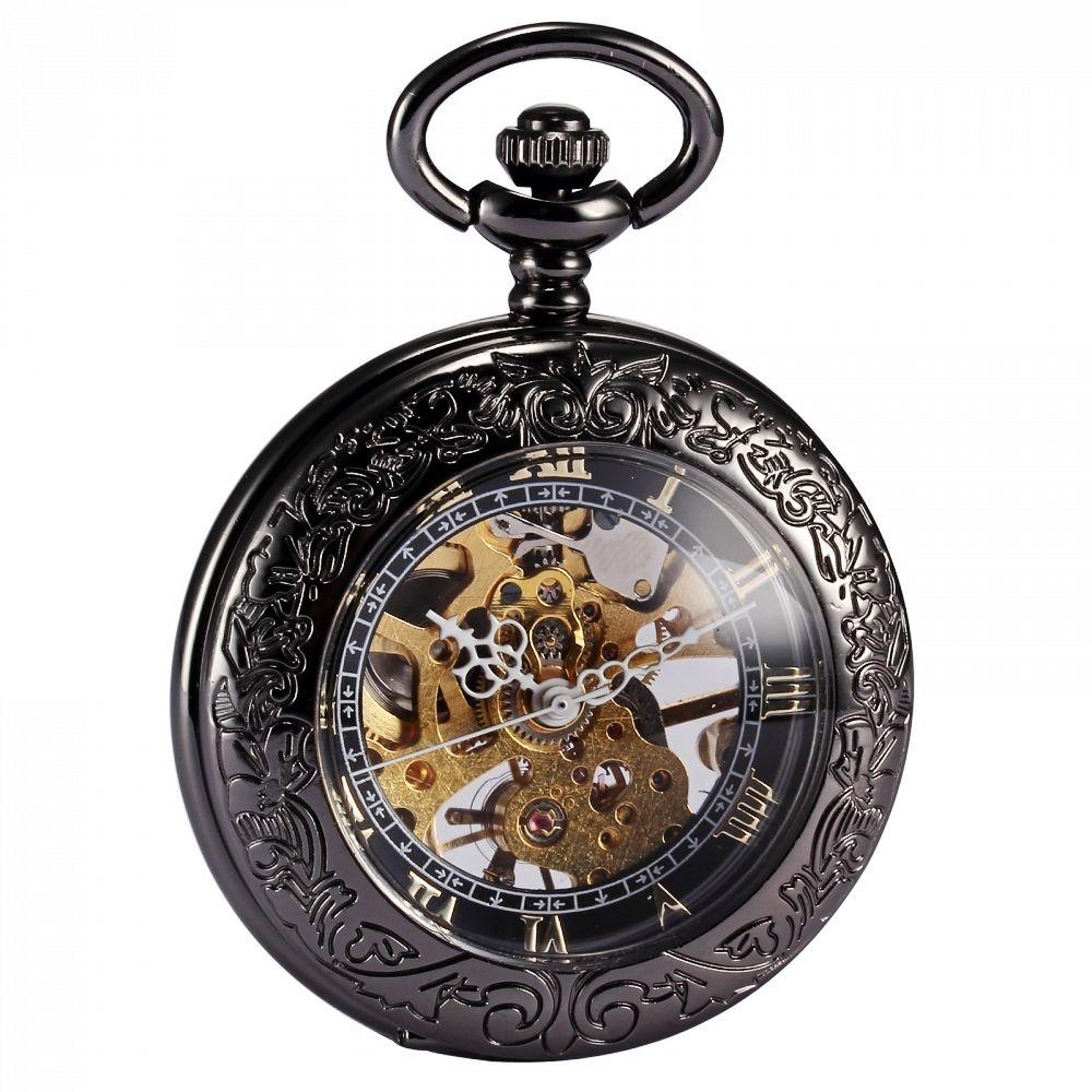 Steampunk Esqueleto Transparente Mecánico Romano Cobre Dijes Relógio de Bolso de Cadena Larga Colgante Reloj de Bolsillo Reloj de la Enfermera/WPK164
