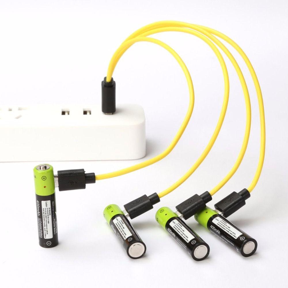 ZNTER 4 pièces Mirco batterie rechargeable usb AAA Batterie 400 mAh AAA 1.5 V Jouets télécommande batteries Au Lithium Polymère Batterie