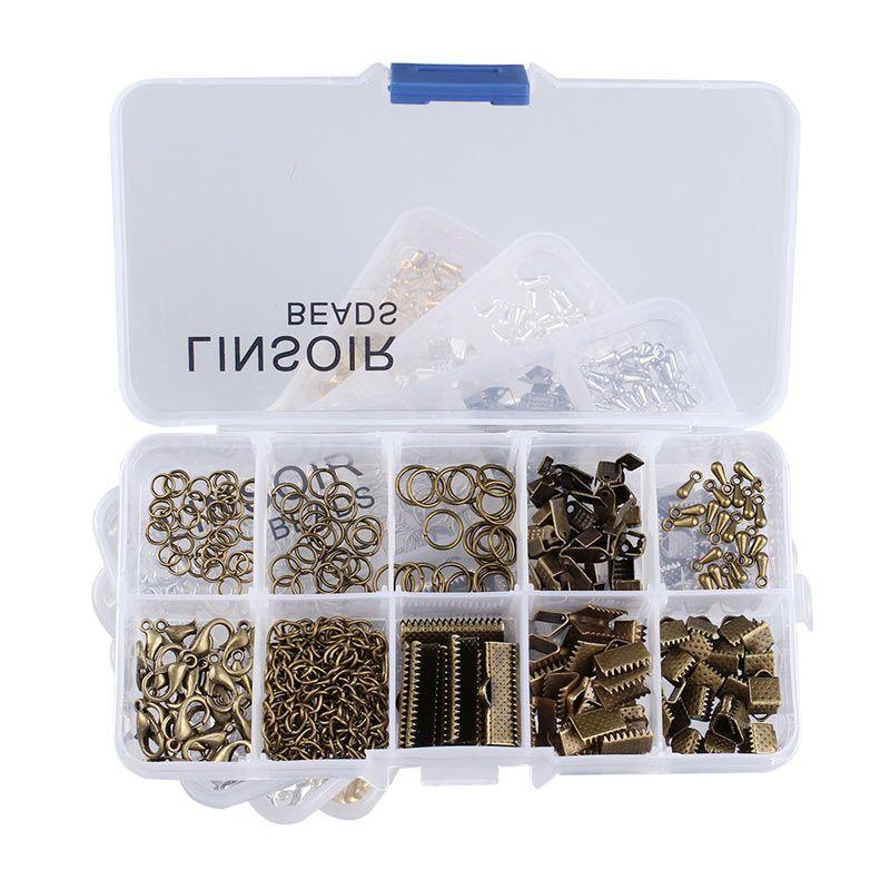 1 Box 4 Farben Crimp Haken Karabiner Biegeringe Extender Ketten Ende Tröpfchen für Halskette Schmuck Machen Materialien