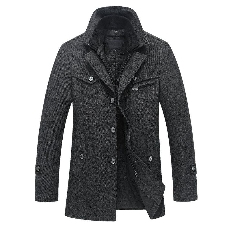 2018 Hot warm autumn and winter high-quality men's jacket stitching men's casual wool coatfree shipping