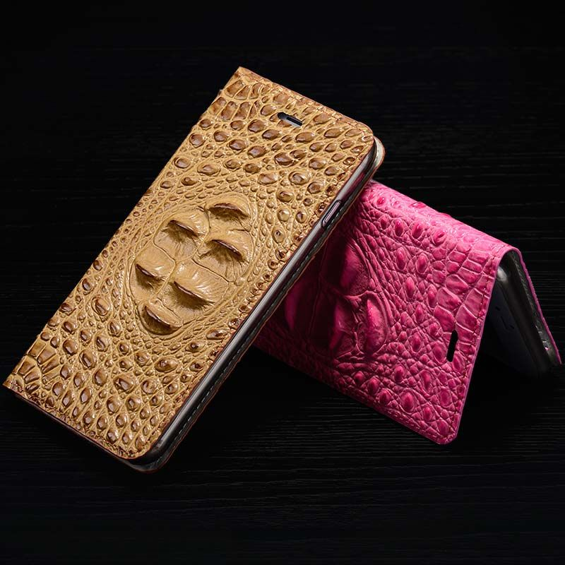 For Huawei Ascend P8 Magnetic Case, 3D Crocodile Flip Luxury Real Genuine Leather Natural Skin Cover Phone Case