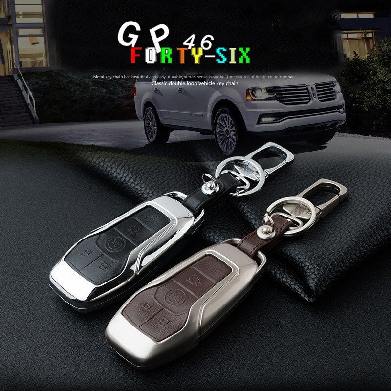 Zinc Alloy Leather  5 Buttons Car Key Fob Case Cover keyring for Ford Taurus Mustang F150 Explorer Fusion Mondeo Edge LINCOLN MK