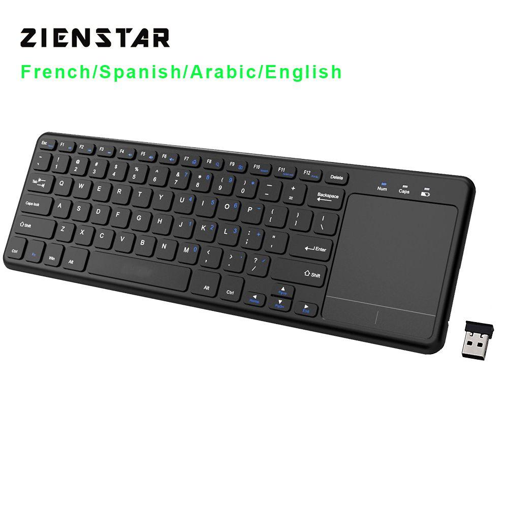 Zienstar г 2,4 г мультимедийная беспроводная клавиатура с тачпадом для Windows PC, ноутбука, ios pad, Smart tv, HTPC IP tv, Android Box