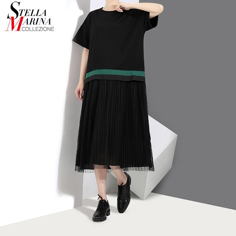 New 2018 Korean Style Short Sleeve Women Black Straight Dress With Mesh Layer Knee Length O Neck Girls Casual Pleated Dress 3367