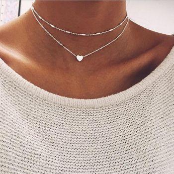 RscvonM Brand Stella DOUBLE HORN PENDANT HEART NECKLACE GOLD Dot LUNA Necklace Women Phase Heart Necklace Drop shipping