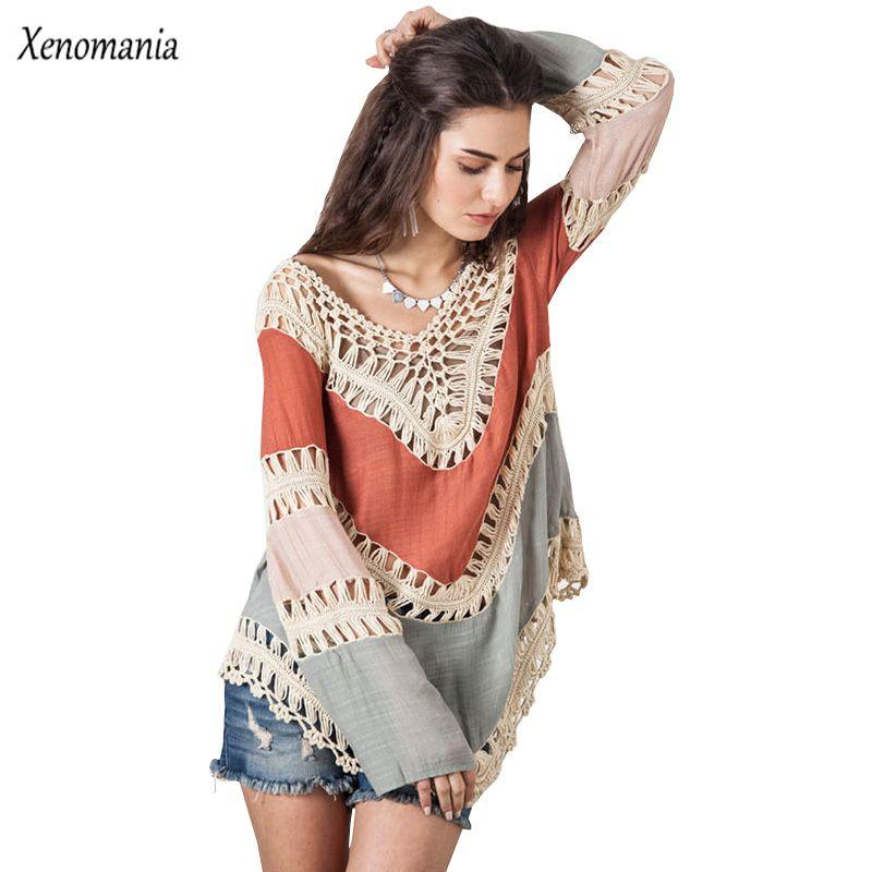 Chemisier Hippie Kimono bohème Crochet femmes Blouses 2017 Blusa Feminina chemise à manches longues Blusas Vintage Sexy hauts Camisa grande taille