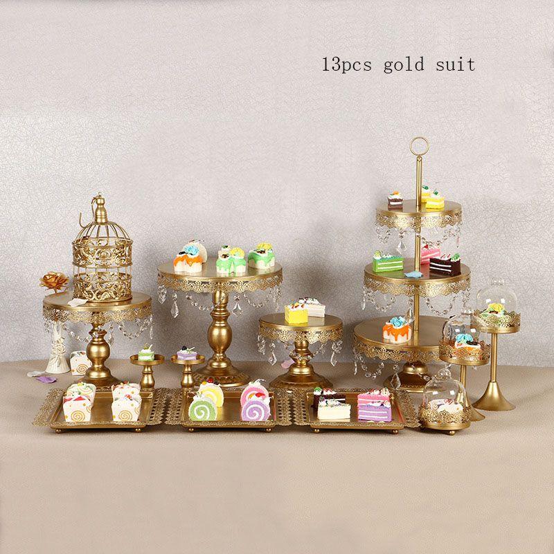 4-15 Stück Gold Wiederaufladbare LED Tortenständer Set, runde Metall Kristall Cupcake Dessert Display Sockel Hochzeit Display