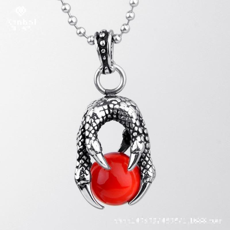 Retro Rock Dragon Talon Titanium Steel Necklace Factory Wholesale Jewelry Charms Vintage Necklace Crystal Point Pendant