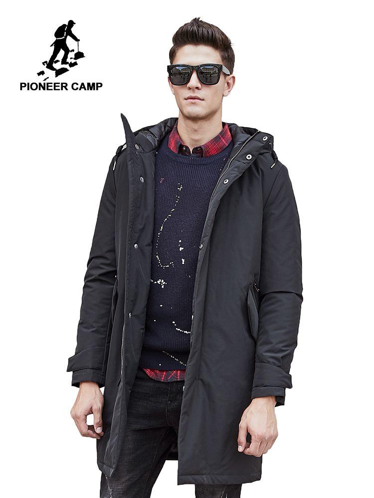 Pioneer Camp long warm winter <font><b>Jacket</b></font> men waterproof brand clothing male cotton autumn coat quality black down Parkas men 611801
