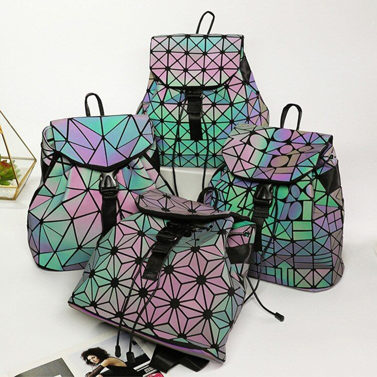 New Laser Luminous Small Women Leather Backpack School Bags For Teenage Girls Mochila Women Foldable Geometric Backpack