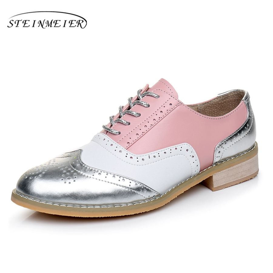 Genuine leather big woman US 10 designer vintage flats shoes round toe handmade silver white pink oxford shoes for women fur