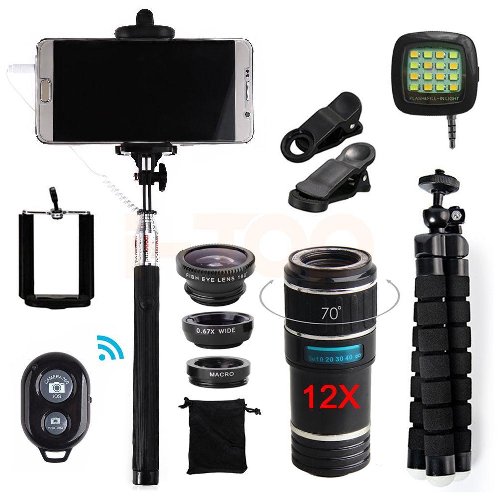 2017 15in1 12X Telephoto Zoom Lens Telescope Fish eye Macro Wide Angle lentes Microscope For iPhone 4 5 6 s 7 8 Plus Smartphone