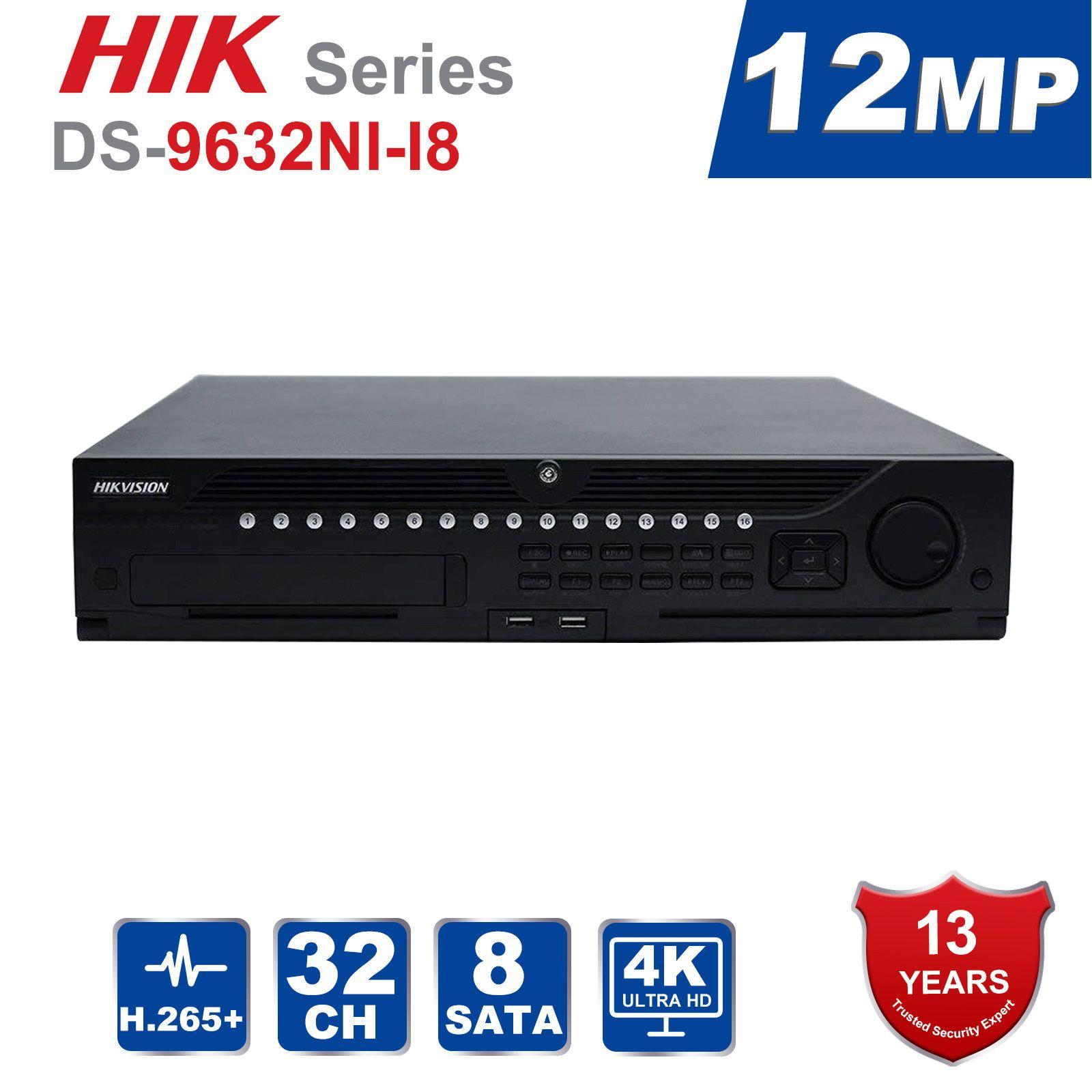 Hik Ursprünglichen Berufs 32 Kanal CCTV System DS-9632NI-I8 Embedded 4 K 32 CH NVR Bis zu 12 Megapixel Auflösung 8 SATA 2 HDMI
