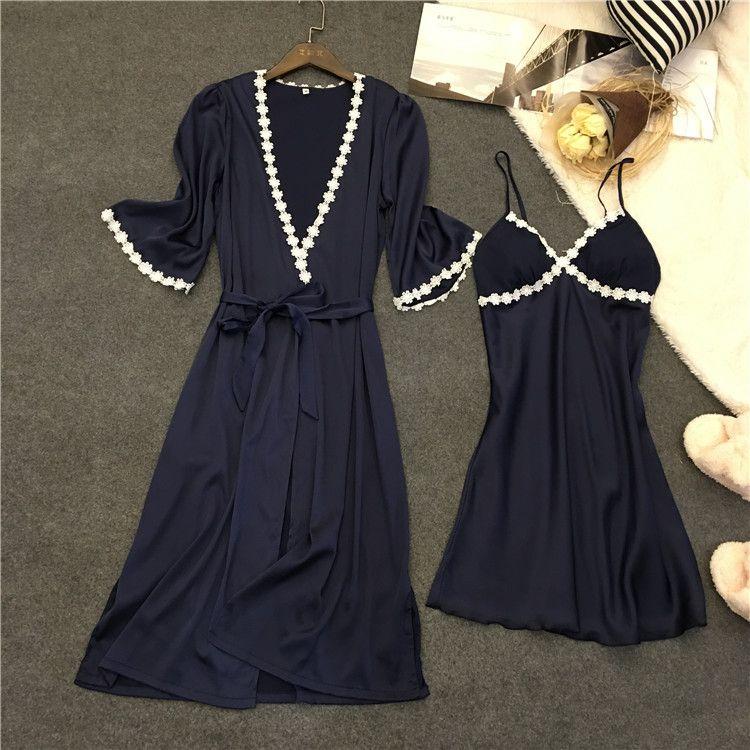 Voplidia Robe Femme Sexy Bademantel Frauen 2017 Sommer Spitze Nachthemd Nachtwäsche Pyjamas Pijama Feminino Pyjama VOP007