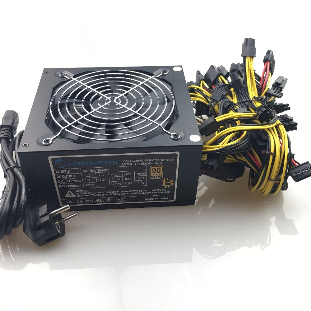 free ship 1600w computer power supply mining rig antminer pico psu asic bitcoin miner for rx 470 rx 580 rx 570 rx480 atx btc