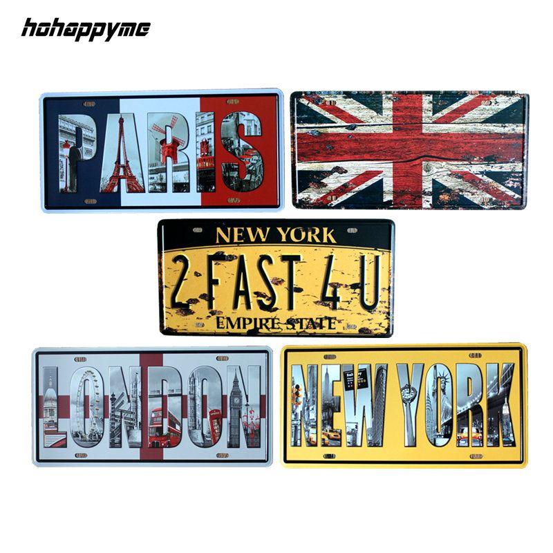 15*30 CM européenne ville Newyork Paris londres plaques d'immatriculation rétro métal signes Vintage bière affiches plaques de métal