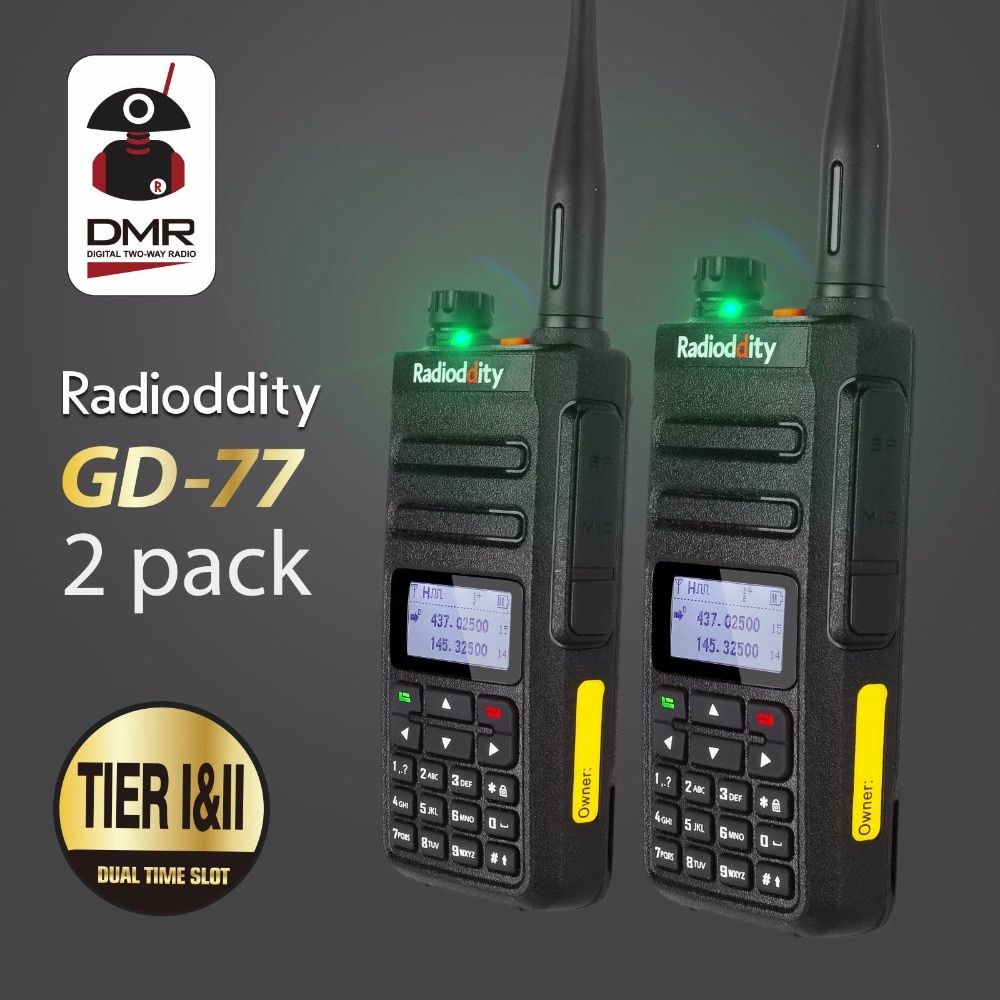 2pcs Radioddity GD-77 Dual Band Dual Time Slot DMR Digital Analog Two Way Radio 136-174 400-470MHz Ham Walkie Talkie with Cable