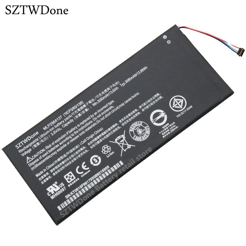 SZTWDone New Tablet battery for ACER Iconia One 7 B1-730 B1-730HD A1402 MLP2964137 3165142P B1-730HD-170L 1CIP3/65/138