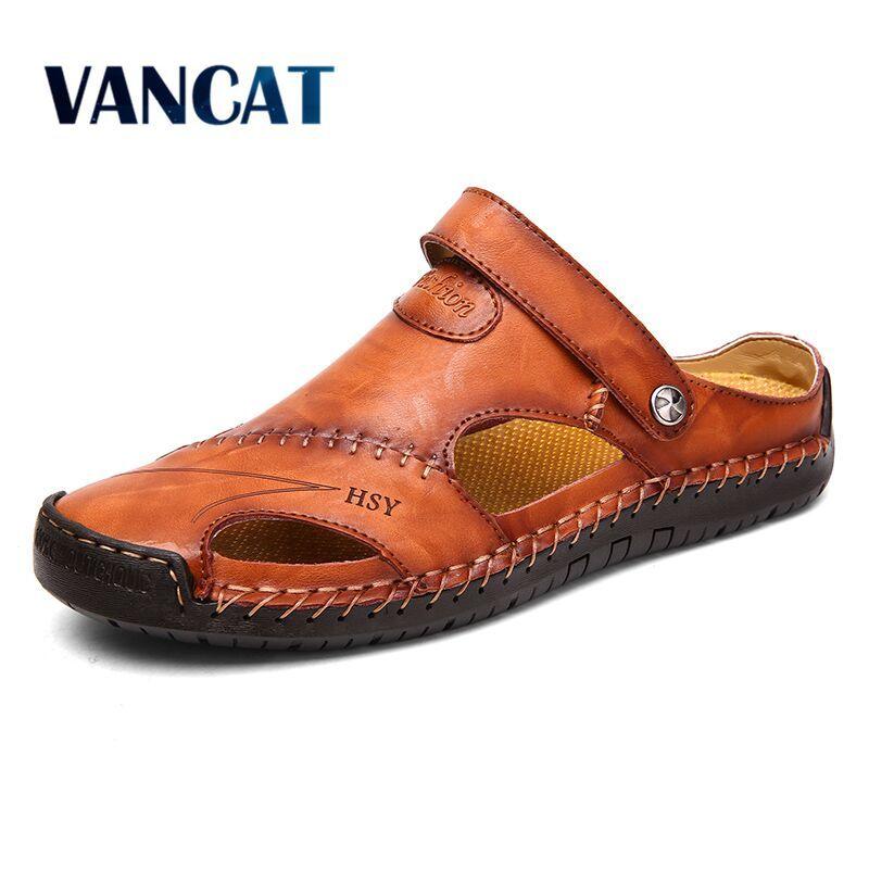 Sandales d'été hommes en cuir classique sandales romaines 2019 pantoufle en plein air Sneaker plage en caoutchouc tongs hommes eau Trekking sandales