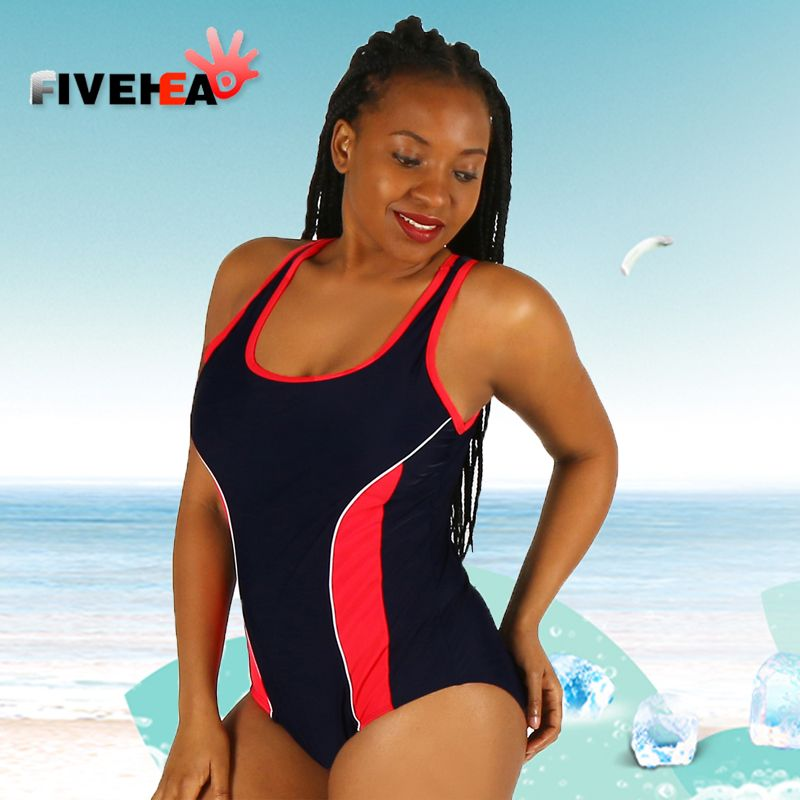 one-piece women swimwear sexy sling halter sporty style solid color large size bathing swimsuit push up female patchwork striped
