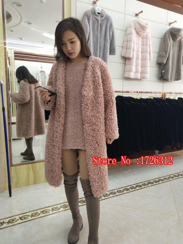 Fashion autumn and winter new lamb fur fur coat Beach fur coat long V-neck long-sleeved bat shirt