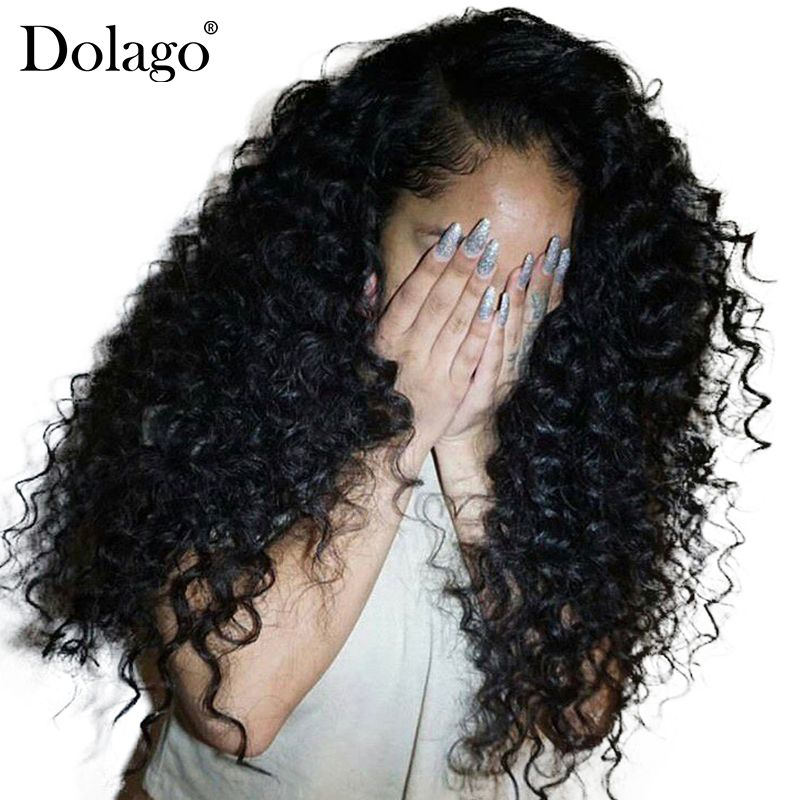 Deep Curly Lace <font><b>Front</b></font> Human Hair Wigs For Women 250% Density Brazilian Hair Lace Frontal Wig Pre Plucked Full Black Dolago Remy