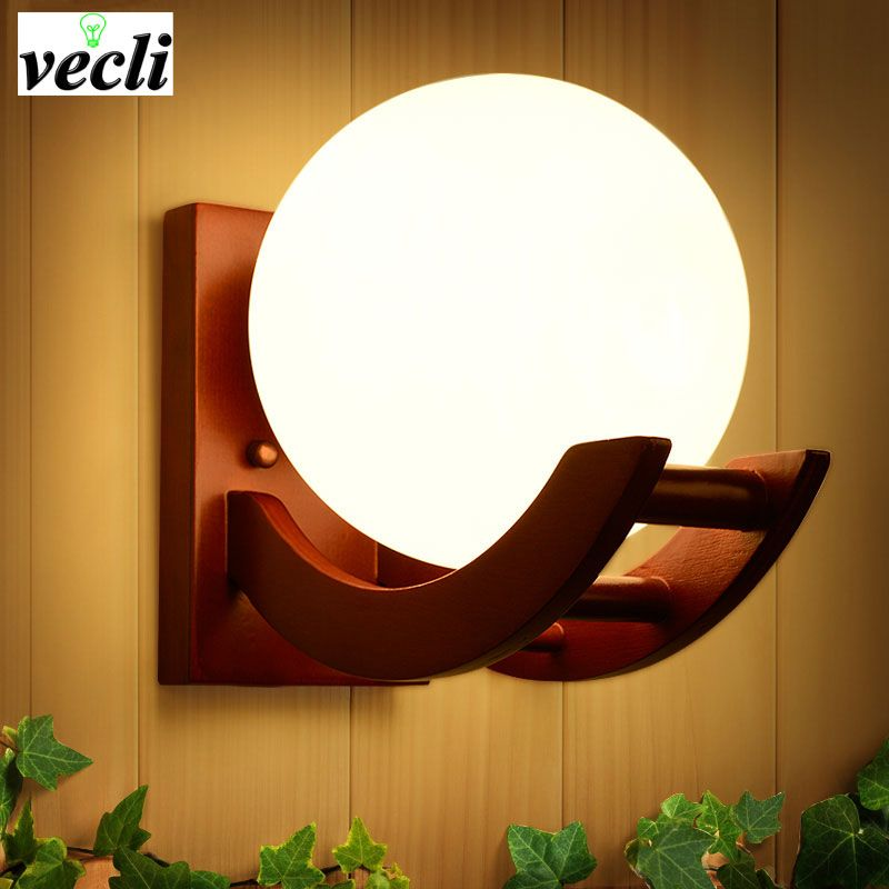 Retro solid wooden wall light for bedroom living room ,parchme stair aisle corridor Home Lighting Wall Sconce,E27 wall light bra